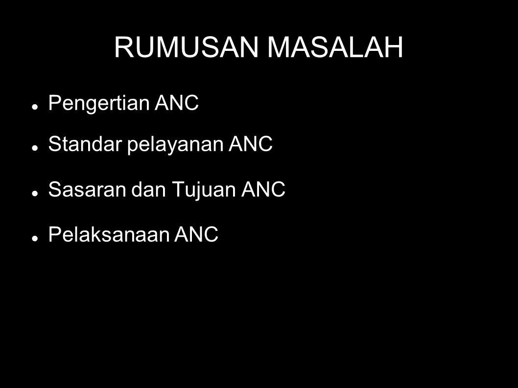 RUMUSAN MASALAH Pengertian ANC Standar pelayanan ANC