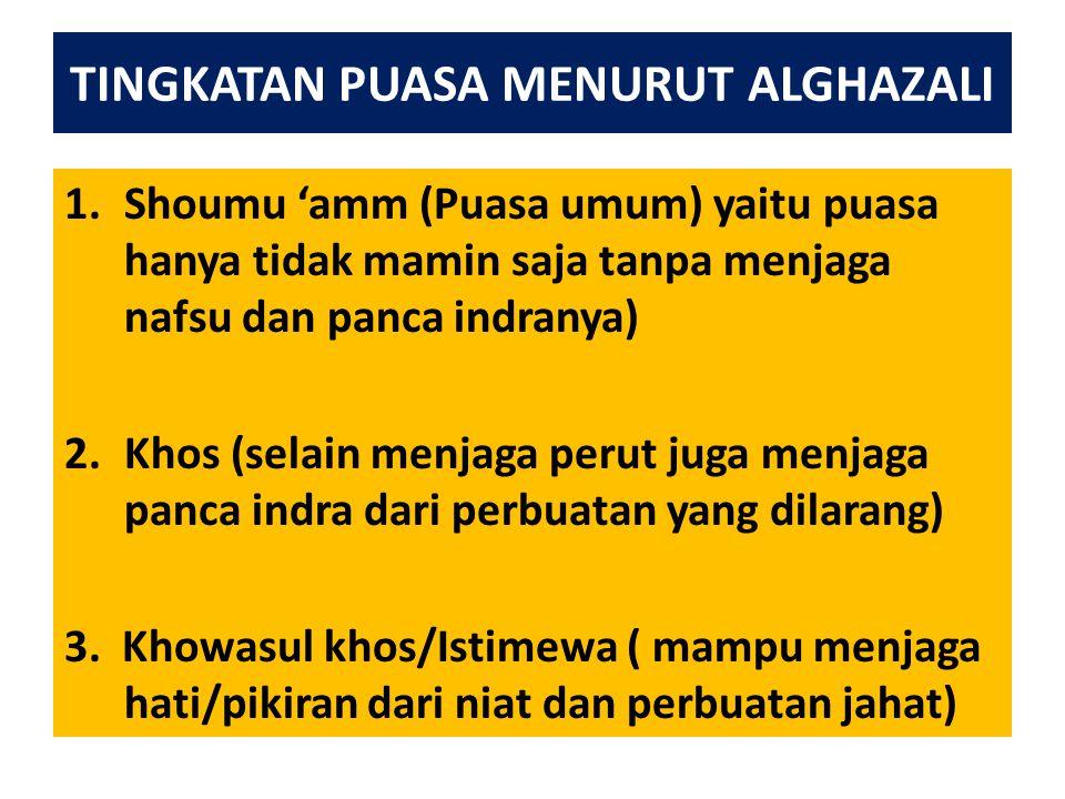 TINGKATAN PUASA MENURUT ALGHAZALI
