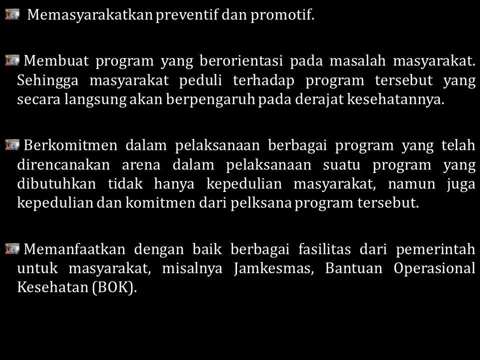 Memasyarakatkan preventif dan promotif.