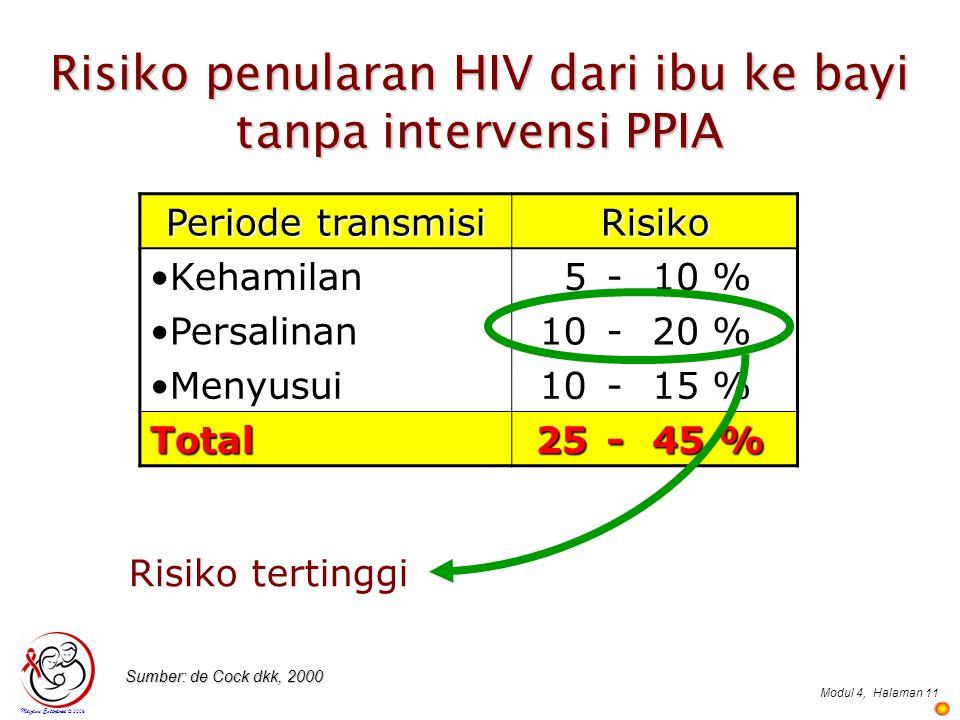 Risiko penularan HIV dari ibu ke bayi tanpa intervensi PPIA