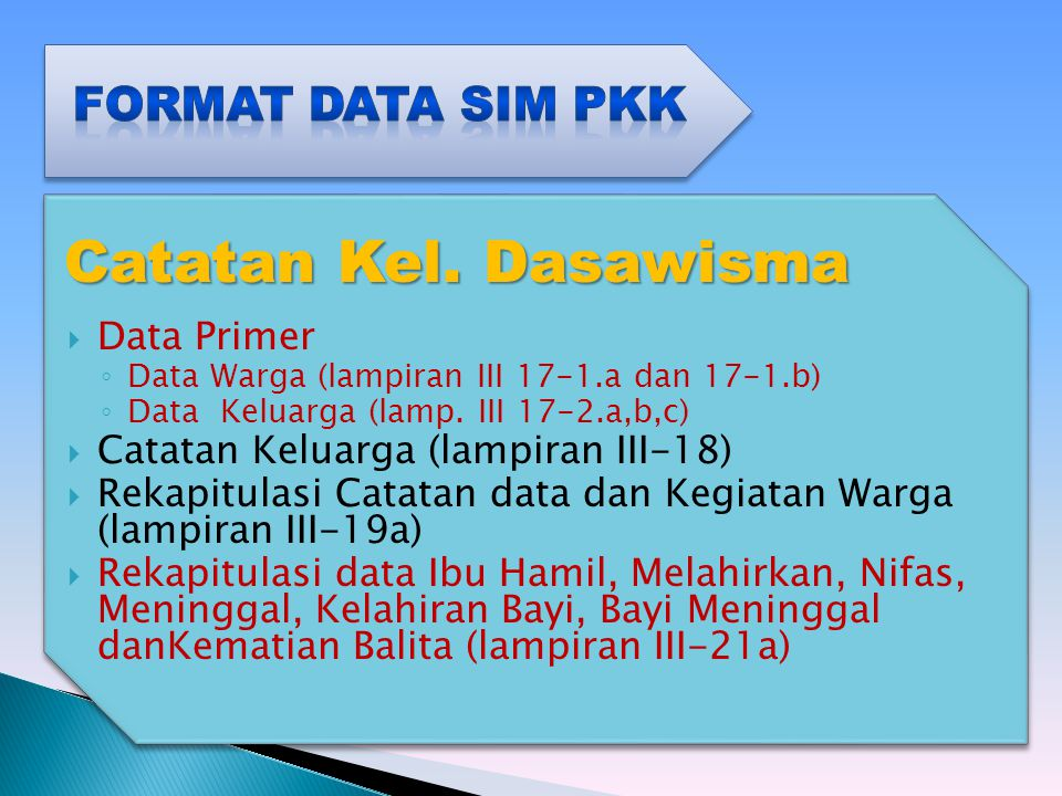 Catatan Kel. Dasawisma Format Data SIM PKK Data Primer