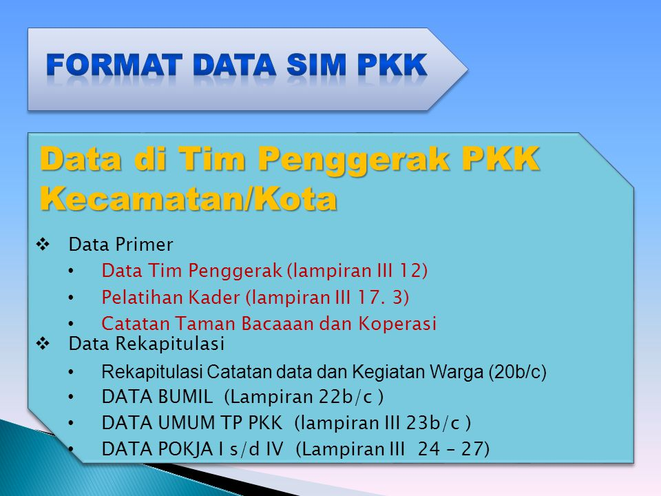 Data di Tim Penggerak PKK Kecamatan/Kota