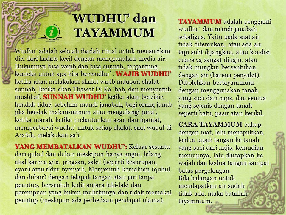 WUDHU' dan TAYAMMUM