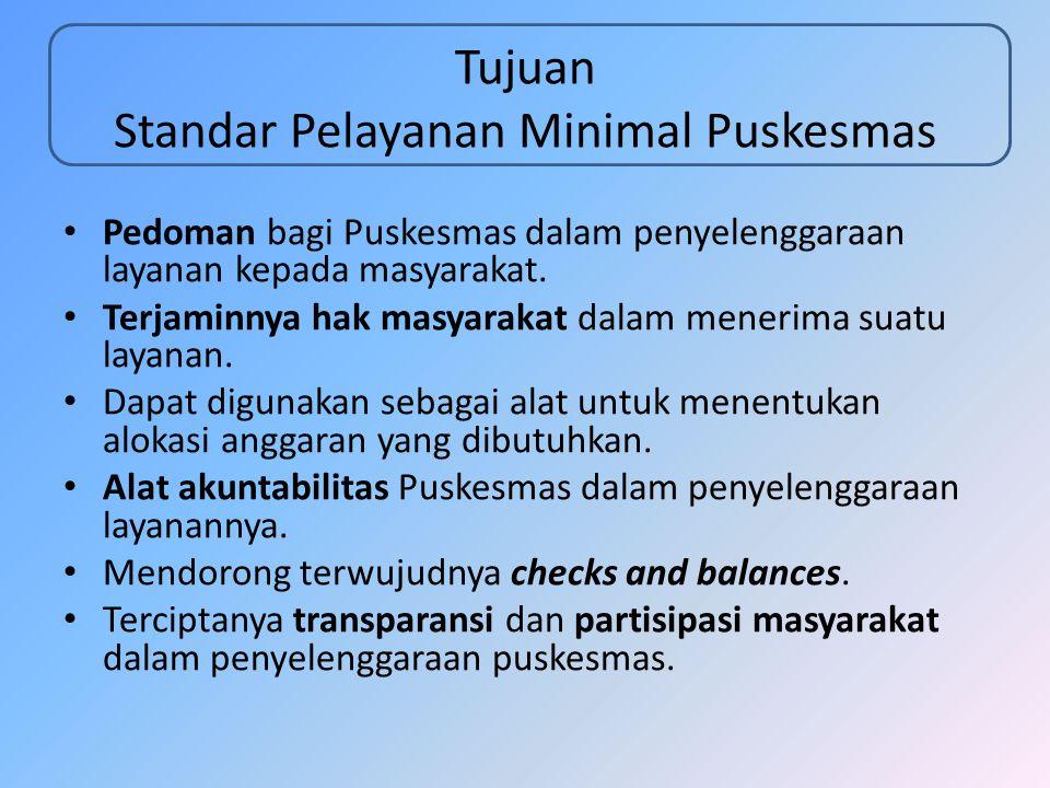 Tujuan Standar Pelayanan Minimal Puskesmas