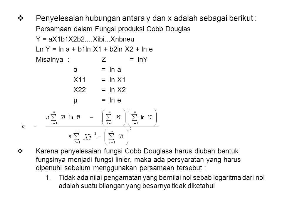 Penyelesaian hubungan antara y dan x adalah sebagai berikut :