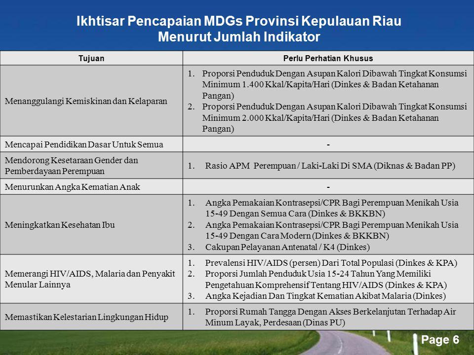 Ikhtisar Pencapaian MDGs Provinsi Kepulauan Riau