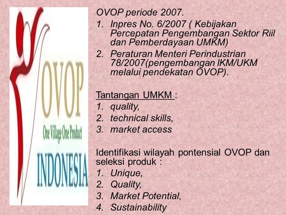 OVOP periode 2007. Inpres No. 6/2007 ( Kebijakan Percepatan Pengembangan Sektor Riil dan Pemberdayaan UMKM)