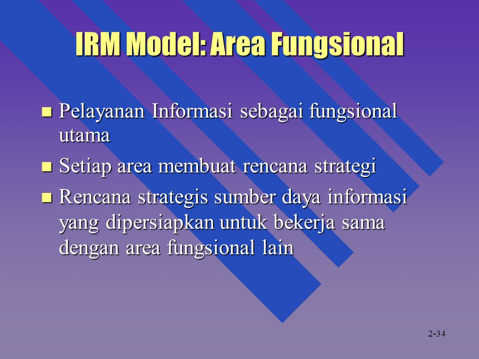 IRM Model: Area Fungsional