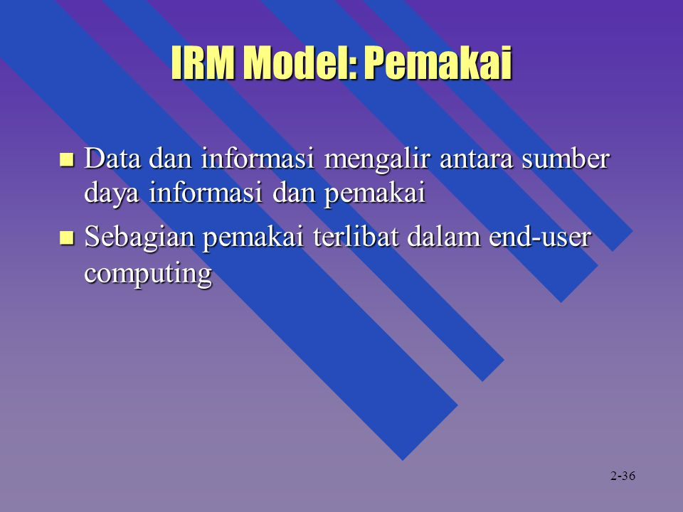 IRM Model: Pemakai Data dan informasi mengalir antara sumber daya informasi dan pemakai. Sebagian pemakai terlibat dalam end-user computing.