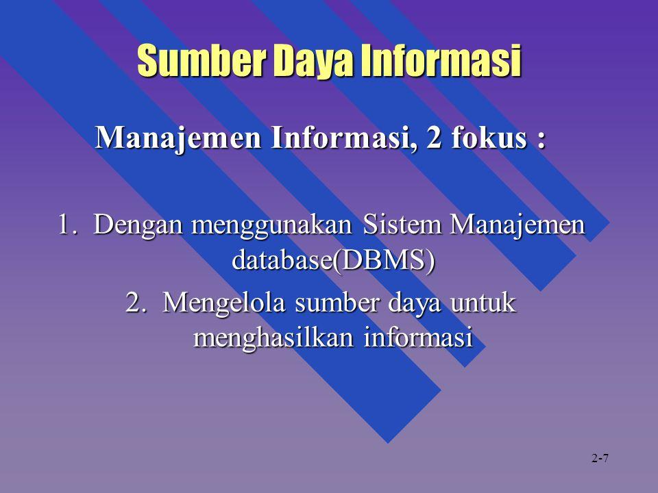 Manajemen Informasi, 2 fokus :