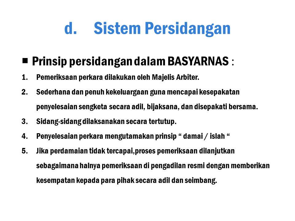 Sistem Persidangan Prinsip persidangan dalam BASYARNAS :