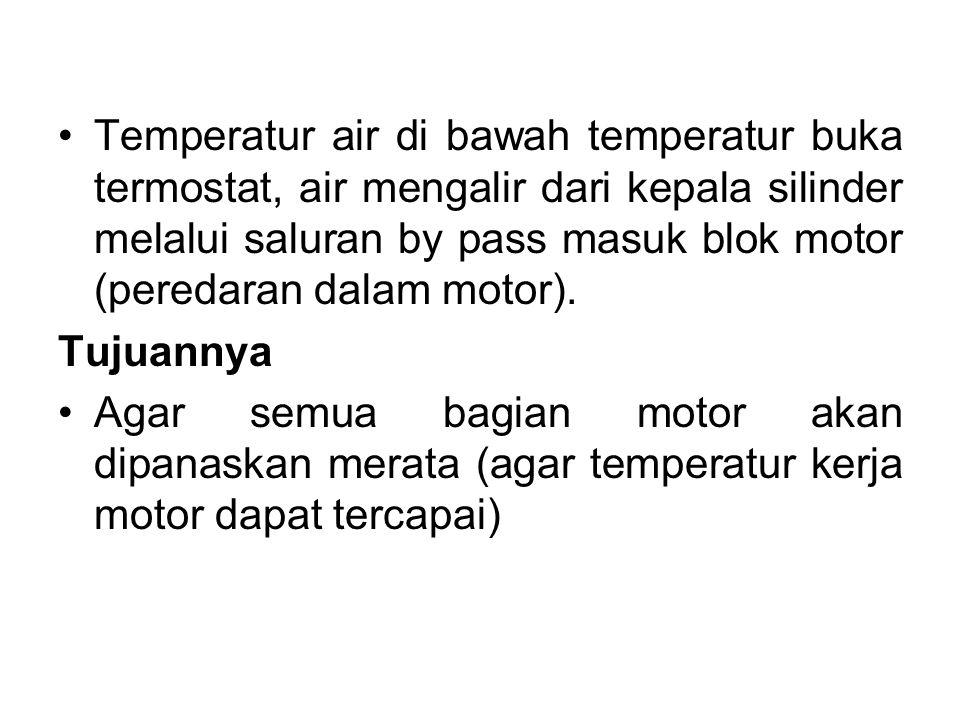 Temperatur air di bawah temperatur buka termostat, air mengalir dari kepala silinder melalui saluran by pass masuk blok motor (peredaran dalam motor).