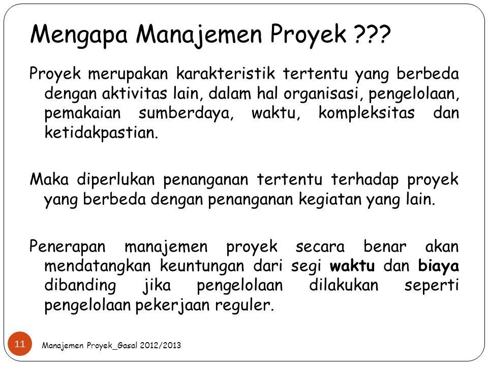 Mengapa Manajemen Proyek