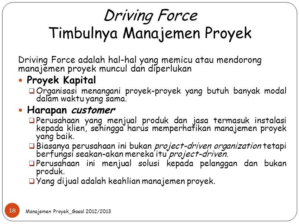 Driving Force Timbulnya Manajemen Proyek