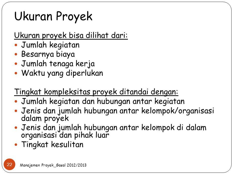 Ukuran Proyek Ukuran proyek bisa dilihat dari: Jumlah kegiatan