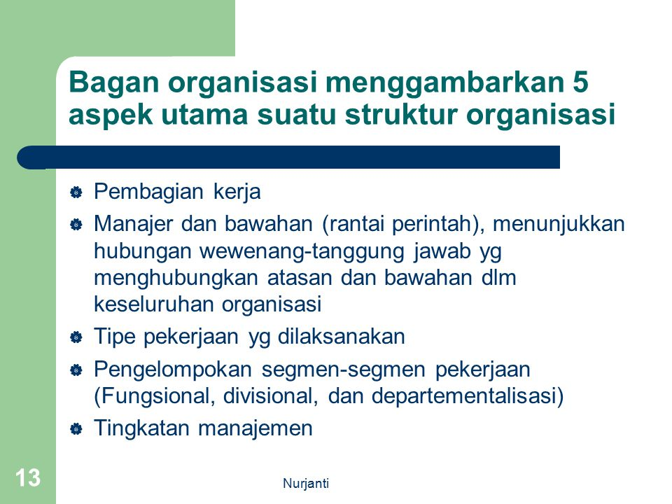 Bagan organisasi menggambarkan 5 aspek utama suatu struktur organisasi