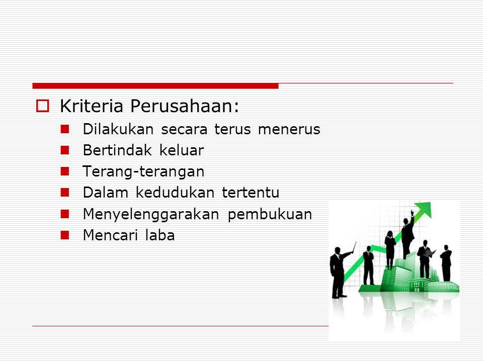 Kriteria Perusahaan: Dilakukan secara terus menerus Bertindak keluar