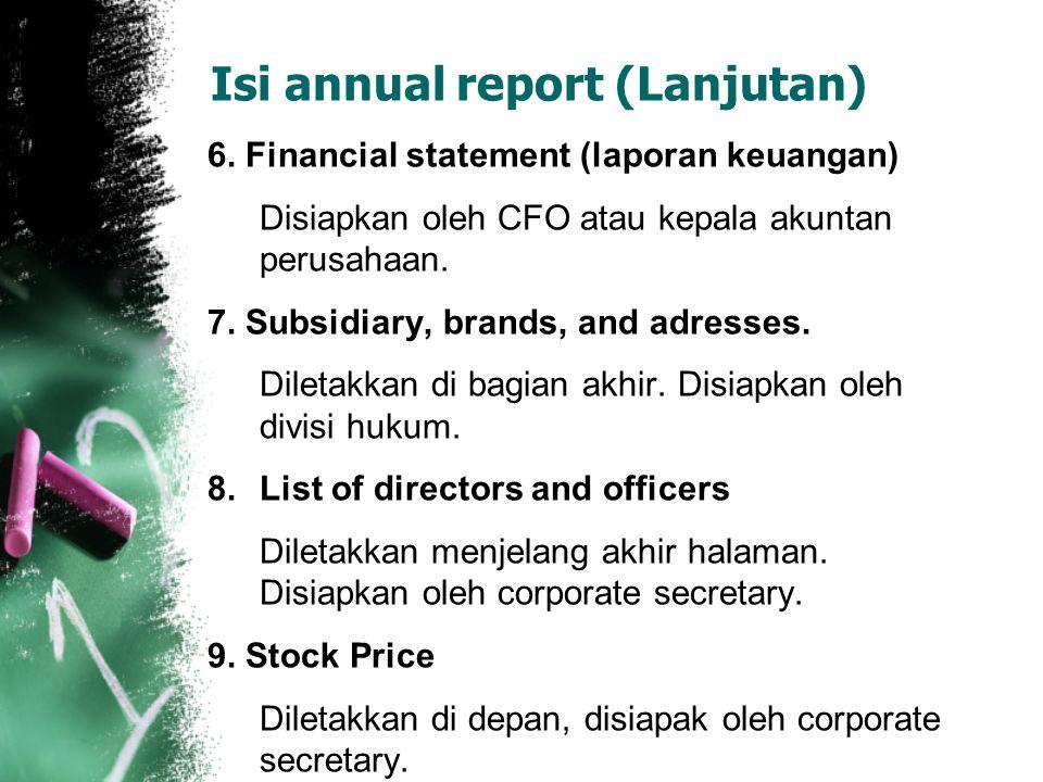 Isi annual report (Lanjutan)