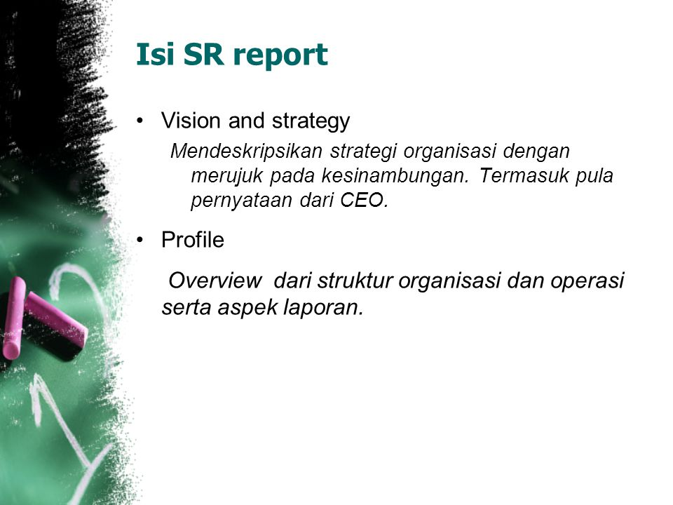 Isi SR report Vision and strategy Profile