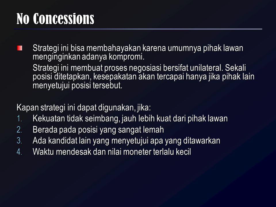 No Concessions Strategi ini bisa membahayakan karena umumnya pihak lawan menginginkan adanya kompromi.