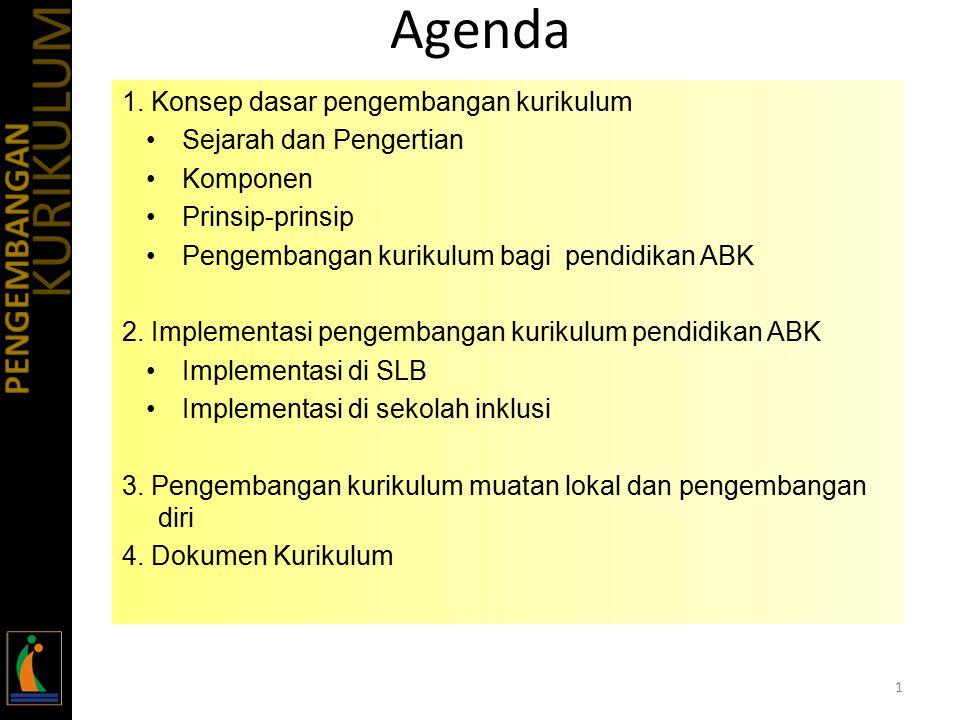 Agenda KURIKULUM PENGEMBANGAN 1. Konsep dasar pengembangan kurikulum