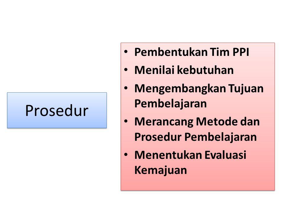 Prosedur Pembentukan Tim PPI Menilai kebutuhan