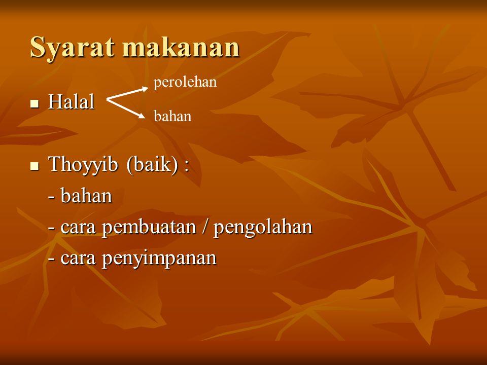 Syarat makanan Halal Thoyyib (baik) : - bahan