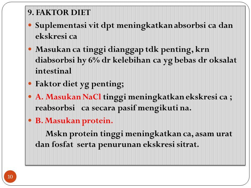 9. FAKTOR DIET Suplementasi vit dpt meningkatkan absorbsi ca dan ekskresi ca.