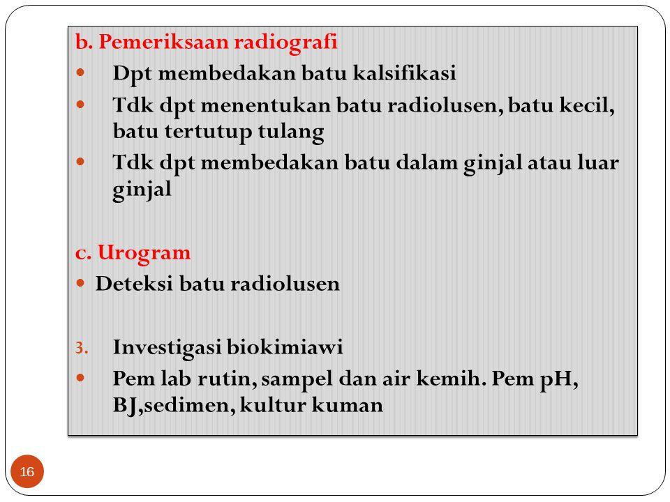 b. Pemeriksaan radiografi