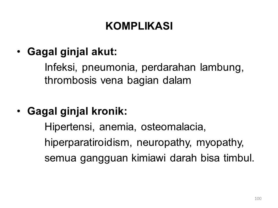 KOMPLIKASI Gagal ginjal akut: Infeksi, pneumonia, perdarahan lambung, thrombosis vena bagian dalam.