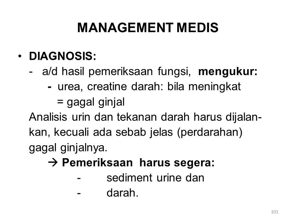 MANAGEMENT MEDIS DIAGNOSIS: - a/d hasil pemeriksaan fungsi, mengukur: