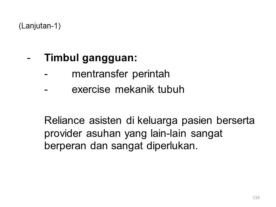 - Timbul gangguan: - mentransfer perintah - exercise mekanik tubuh