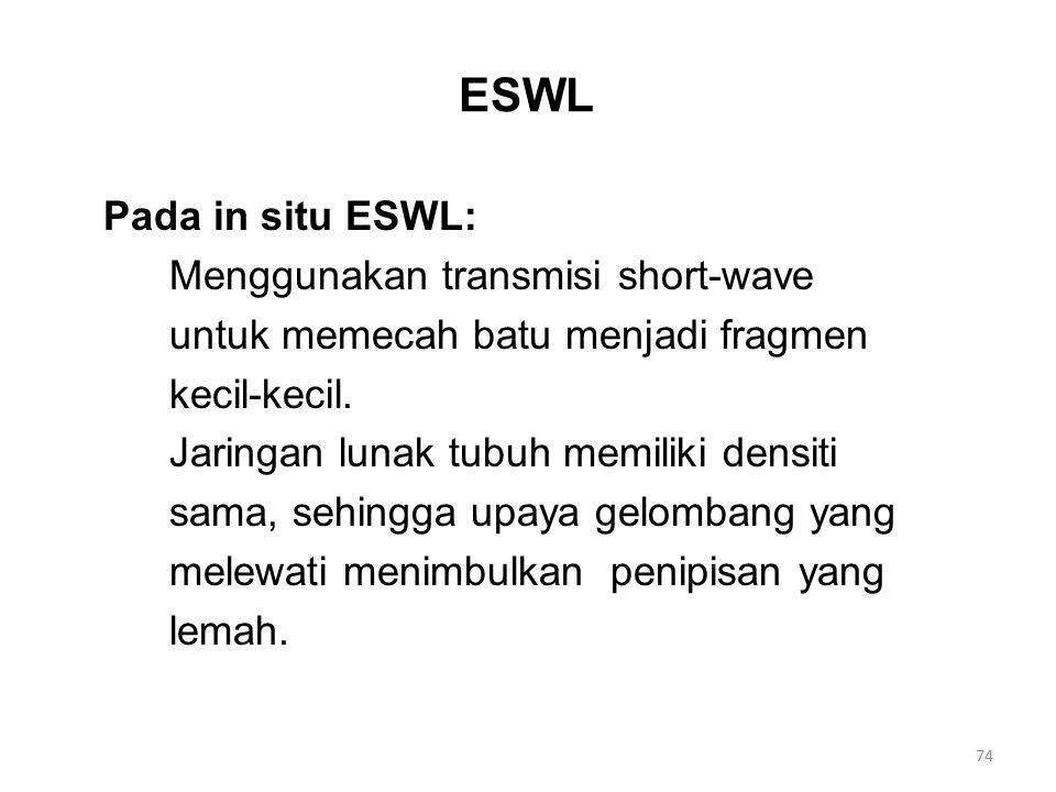 ESWL Pada in situ ESWL: Menggunakan transmisi short-wave