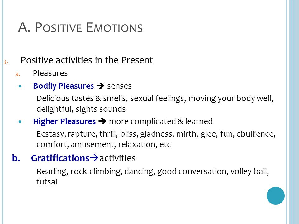 A. Positive Emotions Positive activities in the Present