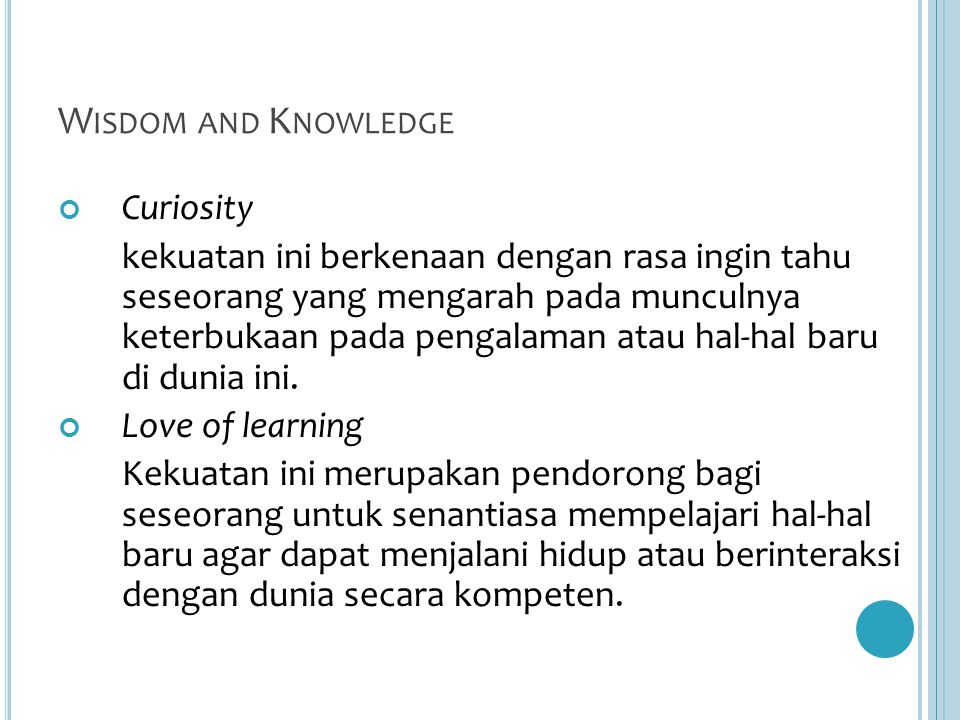 Wisdom and Knowledge Curiosity