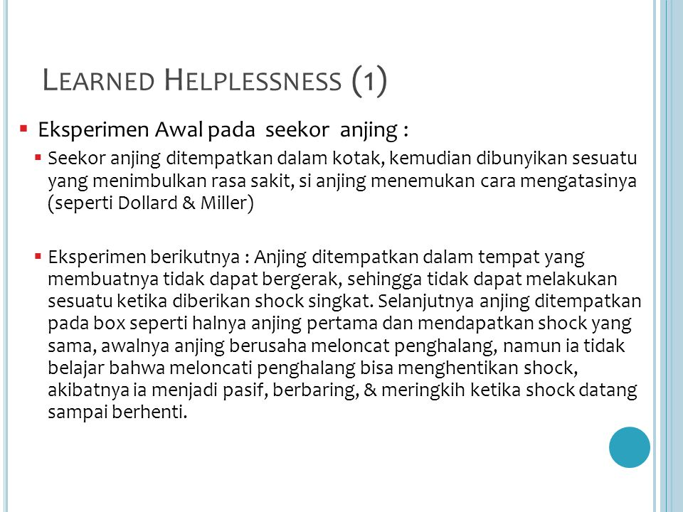 Learned Helplessness (1)