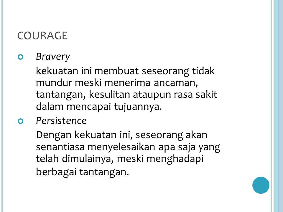 COURAGE Bravery.