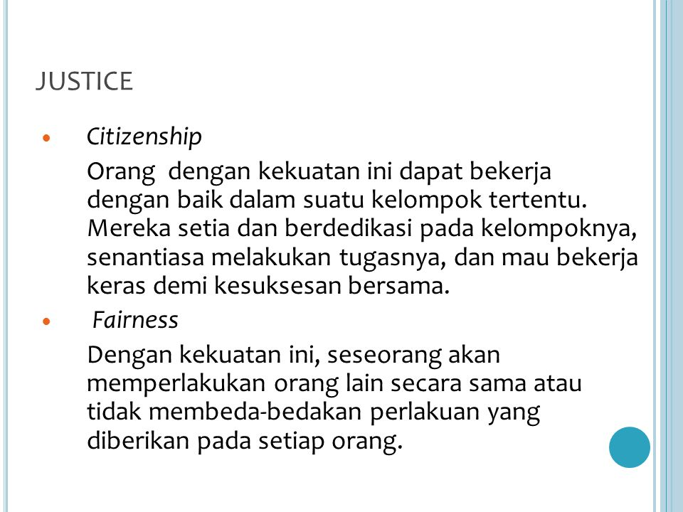 JUSTICE Citizenship.