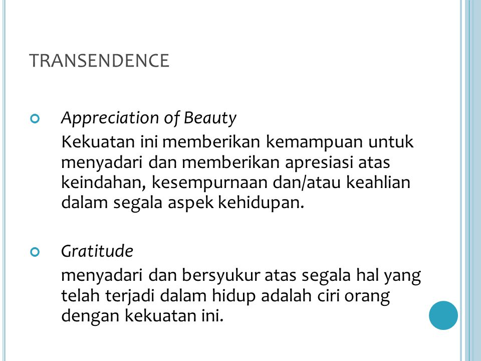 TRANSENDENCE Appreciation of Beauty