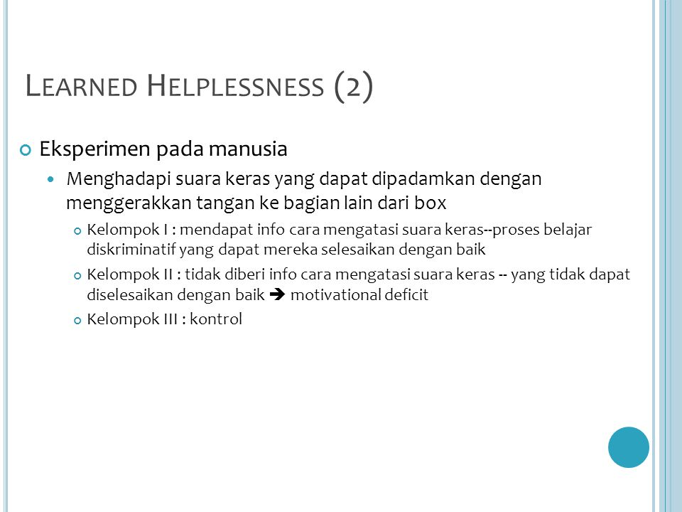 Learned Helplessness (2)