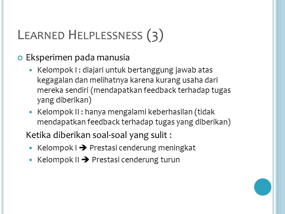 Learned Helplessness (3)