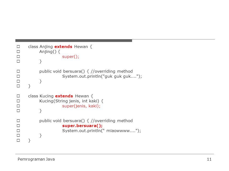 class Anjing extends Hewan { Anjing() { super(); }