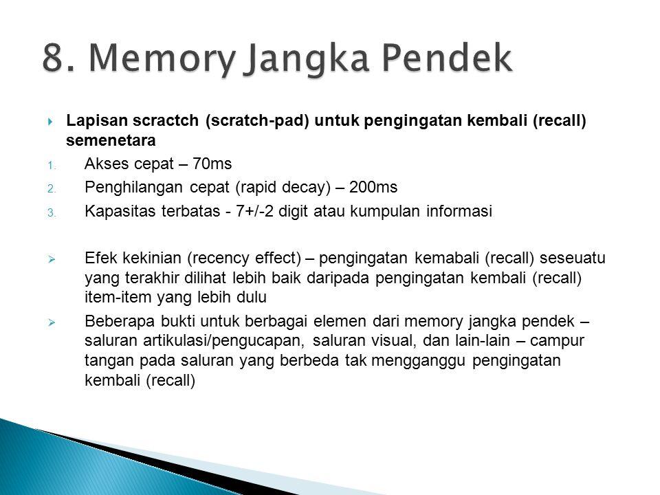 8. Memory Jangka Pendek Lapisan scractch (scratch-pad) untuk pengingatan kembali (recall) semenetara.