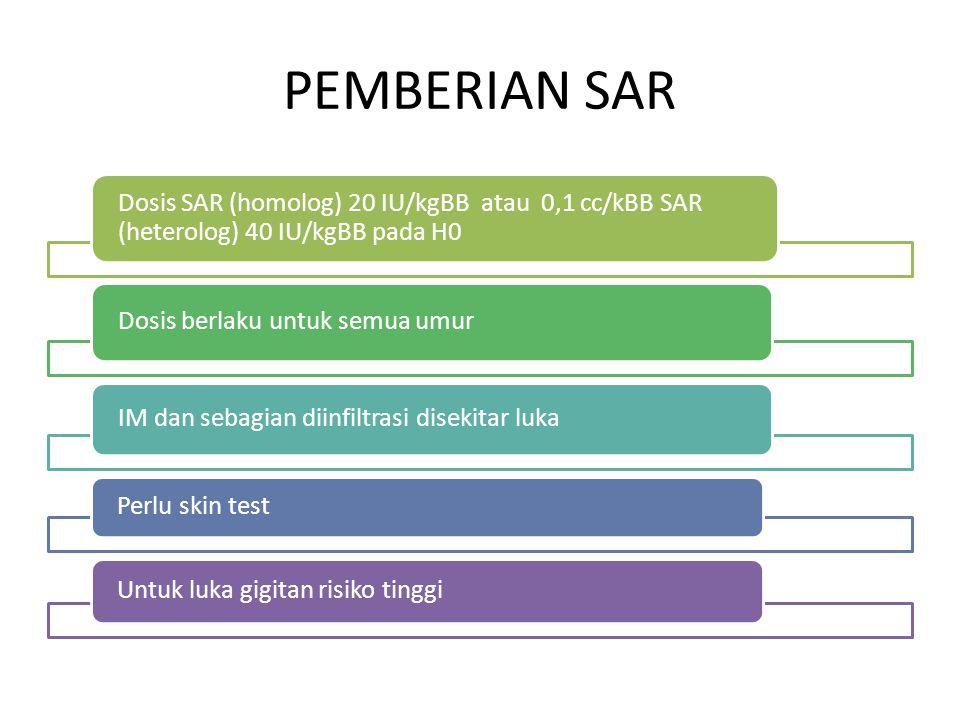 PEMBERIAN SAR Dosis SAR (homolog) 20 IU/kgBB atau 0,1 cc/kBB SAR (heterolog) 40 IU/kgBB pada H0. Dosis berlaku untuk semua umur.