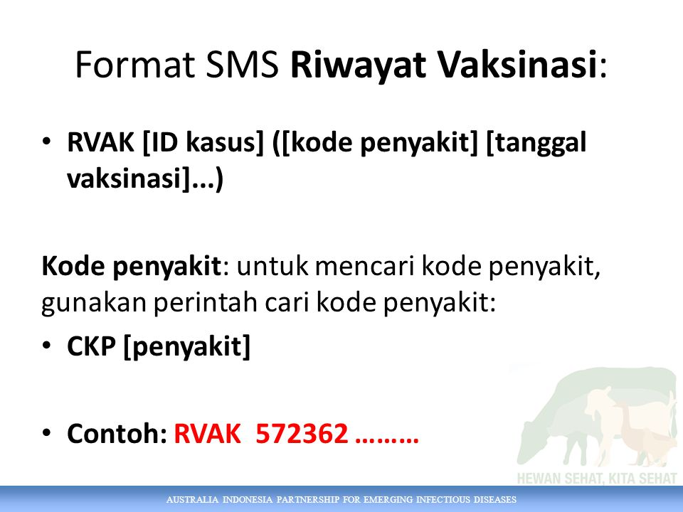 Format SMS Riwayat Vaksinasi: