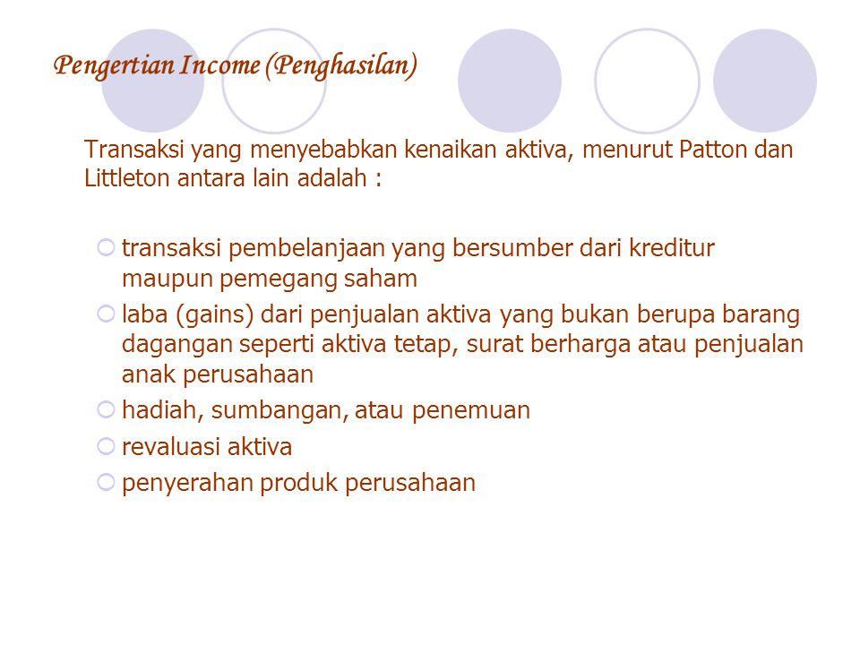 Pengertian Income (Penghasilan)