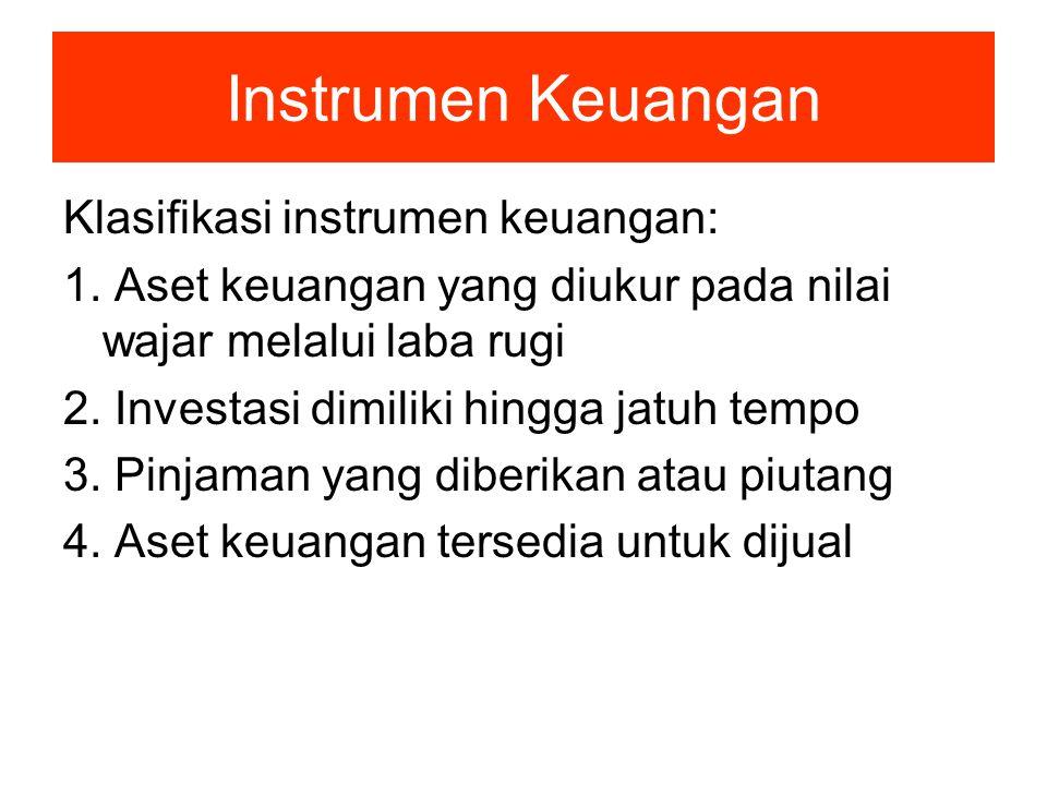 Instrumen Keuangan Klasifikasi instrumen keuangan: