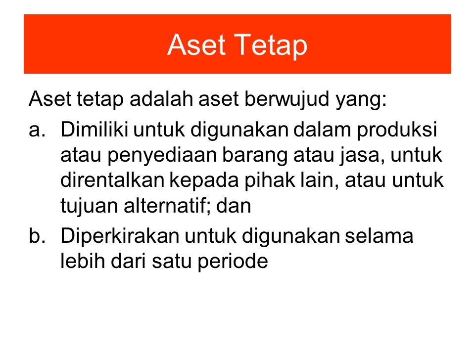 Aset Tetap Aset tetap adalah aset berwujud yang: