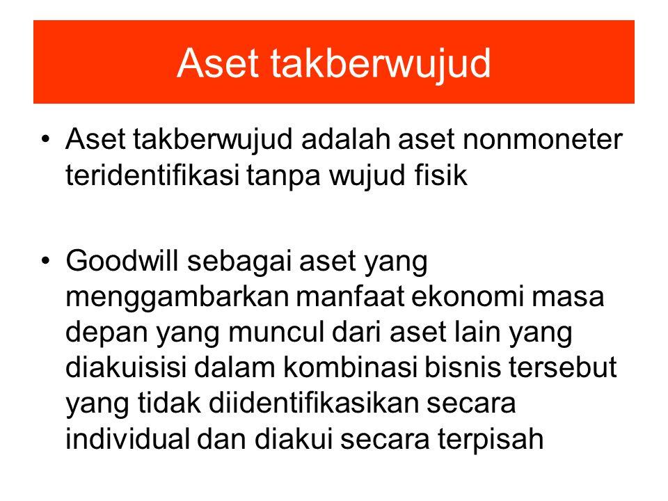 Aset takberwujud Aset takberwujud adalah aset nonmoneter teridentifikasi tanpa wujud fisik.
