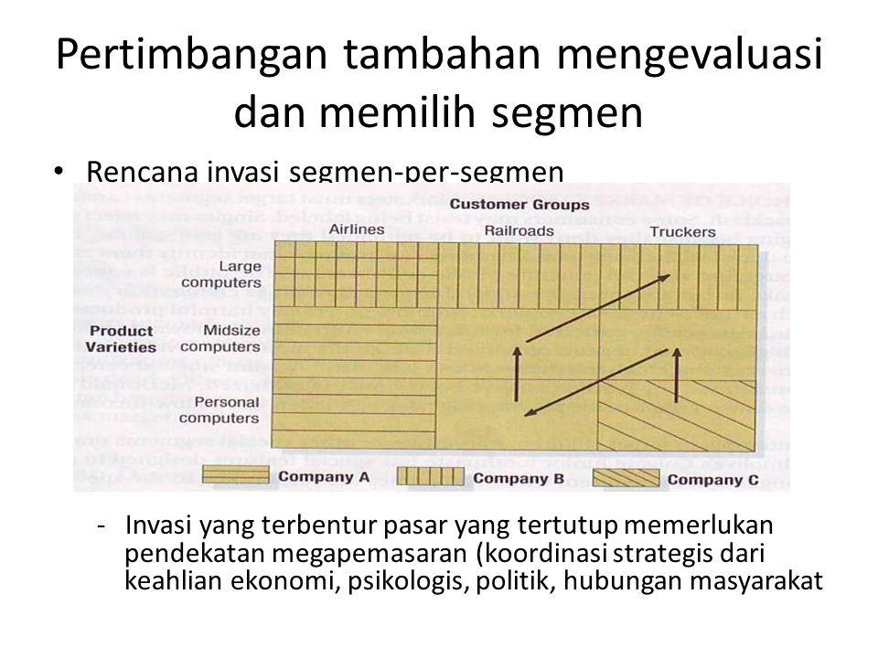 Pertimbangan tambahan mengevaluasi dan memilih segmen
